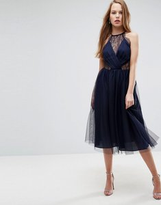 Read more about Asos lace panelled tulle mesh midi dress - navy