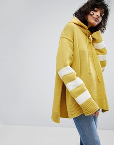 Read more about Stylenanda chunky rib knitted jumper with hood - yellow