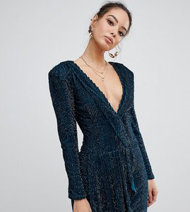 Read more about Missguided peace love embellished plunge wrap dress in teal