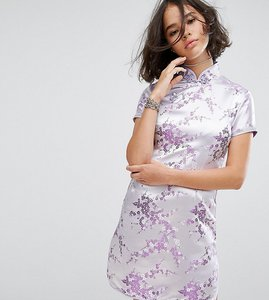 Read more about Reclaimed vintage inspired mini dress in lilac brocade with diamante trim - lilac