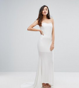 Read more about Club l bandeau fishtail maxi dress - white