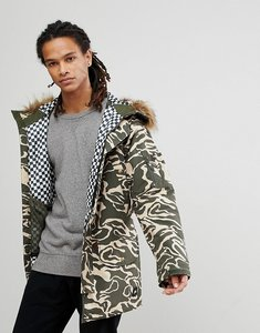 Read more about Analog frazier ski parka jacket insulated hooded detachable faux fur trim in green camo - forest noo