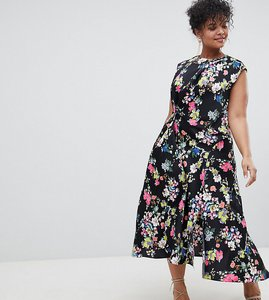 Read more about Asos design curve drape midi dress in floral print - multi