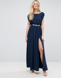 Read more about Asos embellished waist maxi dress - navy