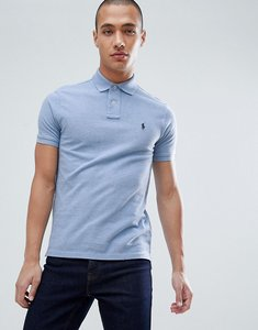 Read more about Polo ralph lauren slim fit pique polo player logo in light blue marl - jamaica heather