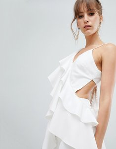 Read more about Asos design ruffle asymmetric cami - cream