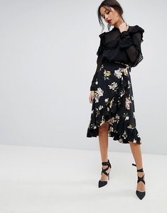 Read more about Y a s floral wrap skirt with ruffle hem - multi