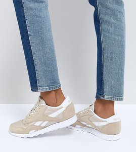 Read more about Reebok classic nylon trainers in oatmeal - beige
