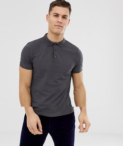 Read more about Asos design pique polo with button down collar in grey - bal