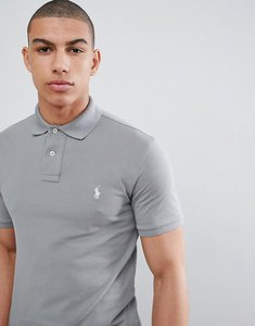 Read more about Polo ralph lauren slim fit pique polo with player logo in washed grey - perfect grey