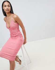 Read more about Rare london scallop lace bodice midi dress - dusky pink