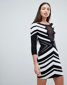Read more about Forever unique 3 4 sleeve monochrome mini dress - black