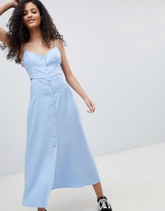 Read more about Bershka cut out button detail midi dress in blue - lightblue