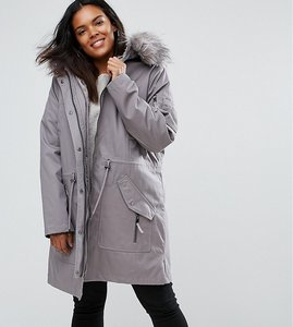 Read more about Asos curve parka with detachable faux fur liner - grey