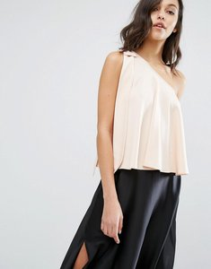 Read more about Miss selfridge one shoulder bow top - nude