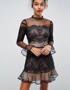 Read more about Asos lace dobby patchwork long sleeve mini dress - black