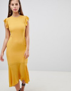 Read more about Hope ivy lattice back pencil dress with ruffle - ochre