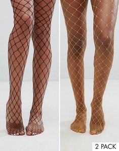 Read more about Asos 2 pack oversized fishnet tights in black and orange - multi