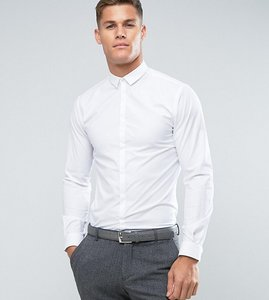 Read more about Noak skinny shirt with bluff collar - white