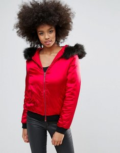 Read more about Missguided red satin faux fur hood padded bomber jacket - red
