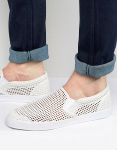 Read more about Asos slip on plimsolls in white with perforation - white