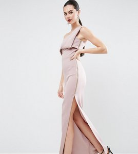Read more about Asos tall scuba one shoulder fold maxi dress with exposed zip - mink
