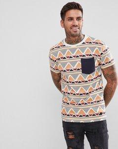 Read more about Soul star aztec pocket print t-shirt - ecru