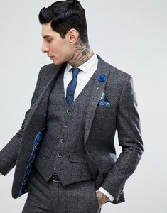 Read more about Harry brown grey check slim fit wool blend suit jacket - grey