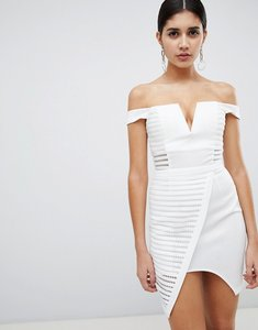 Read more about Rare london textured mesh bardot dress - white