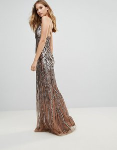 Read more about City goddess ombre sequin maxi dress - rose gold sequin