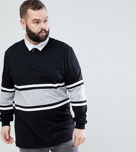 5c7c031f8ef Read more about Asos plus relaxed long sleeve rugby polo shirt with  contrast panelling in black