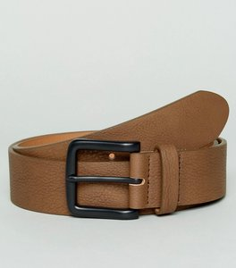 Read more about Asos wide belt in brown faux leather with black coated buckle - brown
