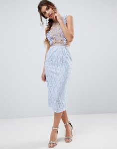 Read more about Asos lace pencil midi dress with frill pinny bodice - soft blue