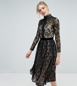 Read more about Little mistress tall allover cutwork lace midi dress - black