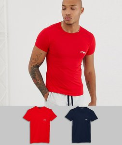 c0ff463ba Read more about Emporio armani 2 pack logo lounge t-shirt in navy red