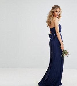 Read more about Tfnc bandeau maxi bridesmaid dress with bow back detail - navy