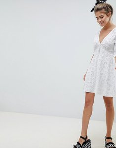 Read more about Asos design broderie button through tea dress - white