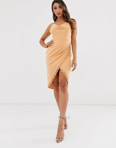 Read more about Laced in love cowl neck midi wrap scuba dress in warm beige
