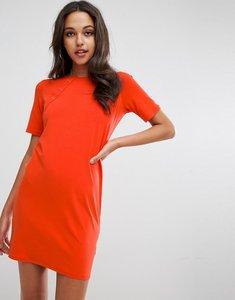 Read more about Asos mini t-shirt dress with button detail - burnt orange