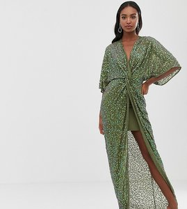 a09067e16049c Read more about Asos design tall scatter sequin knot front kimono maxi dress