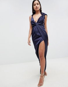 Read more about Asos drape satin maxi dress - navy