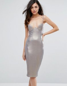 Read more about Rare london high shine plunge pencil dress - dark silver