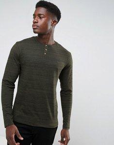 Read more about Threadbare space dye long sleeve grandad t-shirt - khaki