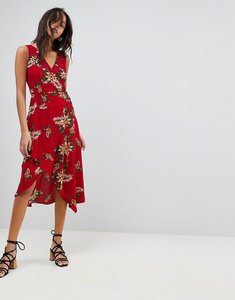 Read more about Ax paris leaf print frill sleeve dress - red