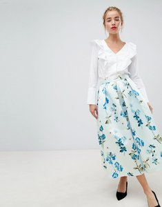 Read more about Closet london full prom midi skirt in floral print - pale blue multi