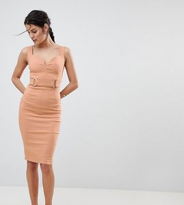 Read more about Vesper plunge sweetheart pencil dress with rose gold trim - taupe