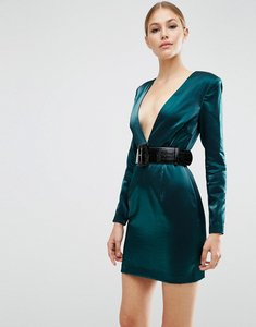 Read more about Asos 80 s deep plunge mini dress with belt - green