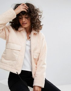 Read more about Dr denim boxy fit teddy bear jacket - pale pink