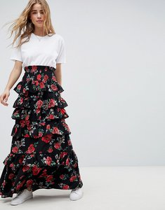 Read more about Asos design shirred waist tiered maxi skirt in rose floral print - rose floral