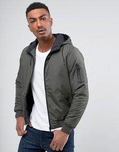 Read more about Brave soul hooded bomber jacket - green
